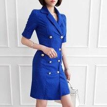 2019 Women Summer Office Lady Work Wear Slim Vestidos  Double Button S