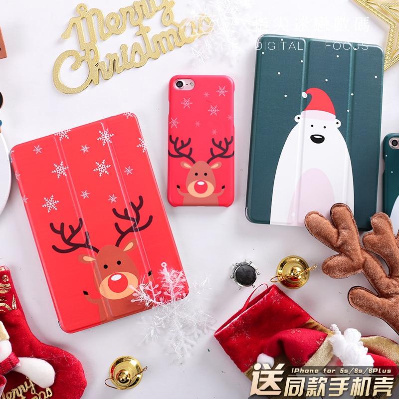 Warm Christmas Animal Mini4 Mini2 Mini3 Lovers Flip Cover For iPad Pro 9.7 Air Air2 Mini 1 2 3 4 Tablet Case Protective Shell