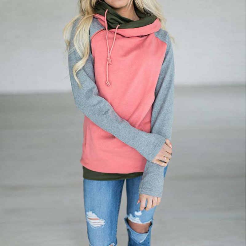 المرأة الخريف البلوز حجم كبير هوديي البلوز الإناث مقنعين الدافئة المرأة هوديس هودي السيدات الشتاء البلوز الوردي