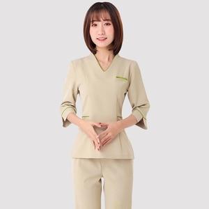 Image 5 - Spa uniforms Beautician working clothing tooling technician sauna bath foot bath massage foot short sleeved uniforms