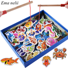 Toys-Set Fishing-Game Wooden Magnetic Baby for Kids 32pcs Cognition Puzzle Educational-Toy