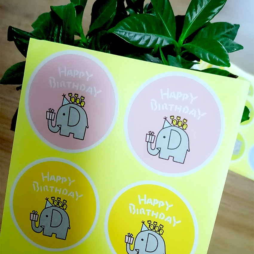 80pcs lot quot Happy Birthday quot Paper Seal Sticker Elephant Pattern Gifts Decorative Package Sealing Label For Handmade Products in Stickers from Home amp Garden