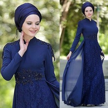 Best Selling Navy Blue High Neck Hijab Evening Dresses Lace Appliques A-Line Long sleeves Prom Dress Muslim Evening Party Gown