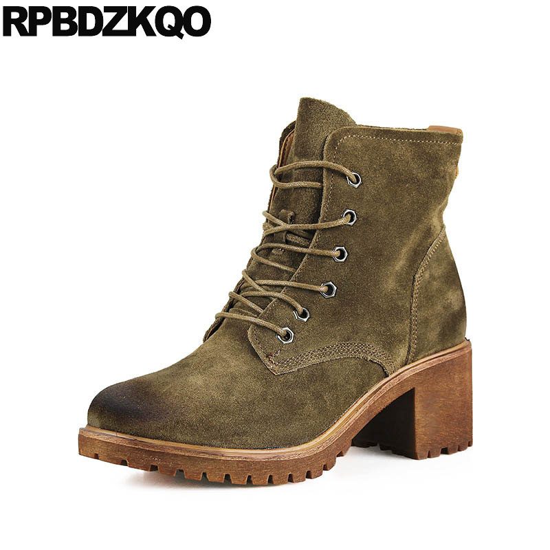 Autumn Fall Suede Chunky Lace Up Booties Ankle Green Ladies Block Women Boots 2016 Round Toe Platform Genuine Leather Shoes New custom metal platform round toe sexy women ankle boots 2016 booties shoes red chunky high heel suede autumn ladies fashion