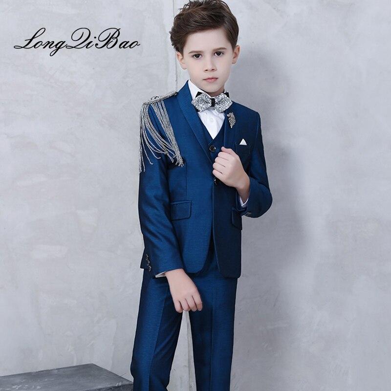 123ff4f974f0 Longqibao shoulder tassel fashion show boy clothing suit jacket dark blue  children suit suit boy suit suitable for wedding cloth
