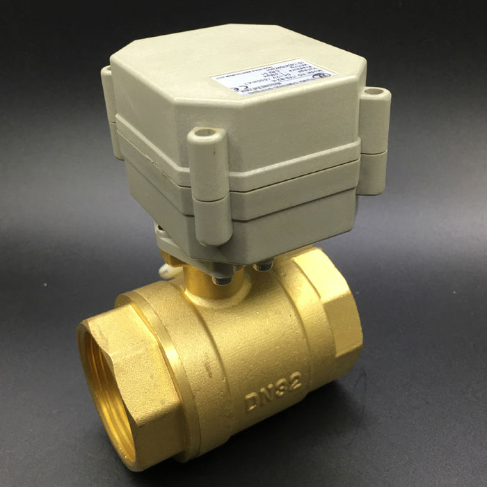 Flow Control Electric Actuator Valve BSP/NPT 1-1/4'' 2 Way DN32 Motorized Ball Valve TF32-B2-A Metal Gear High Quality CE IP67