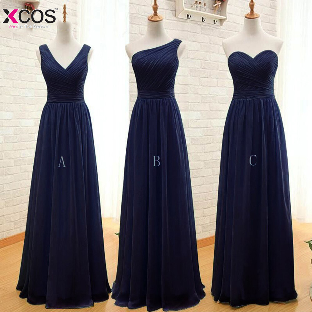 Navy blue long chiffon a line pleated bridesmaid dress for Long dress for wedding party