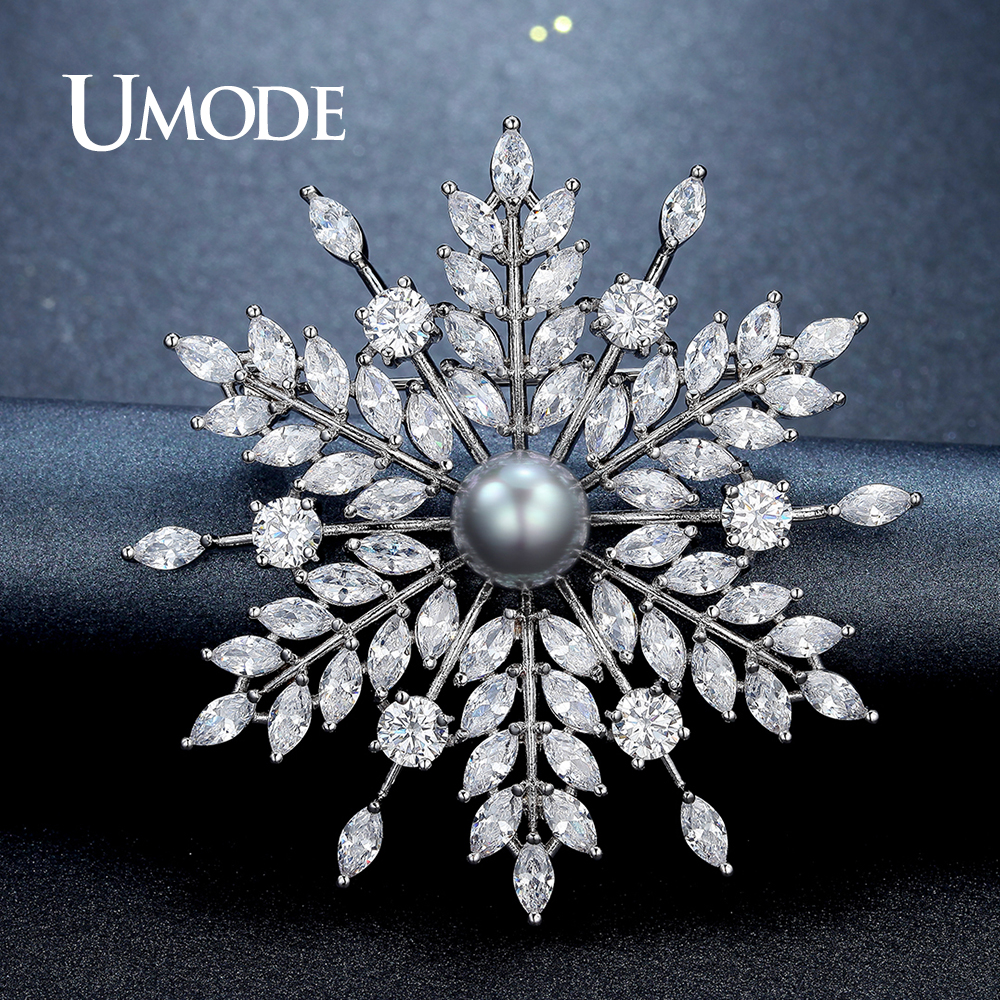 UMODE New Pearl Brooch Jewelry for Women Large Rhinestone Crystal Flower Brooches and Pin Wedding Smowflake Collar Brooch UX0007 elegant artificial gem oval rhinestone leaf floral brooch for women