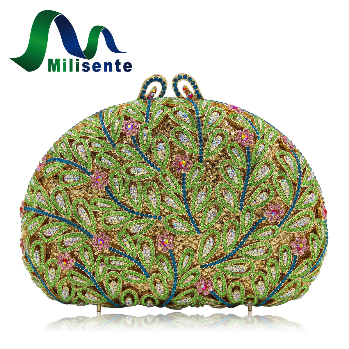 Milisente Vintage Women Floral Evening Clutch Green Ladies Colorful Crystal Clutches Purses Female Beauty Party Bag milisente high quality luxury crystal evening bag women wedding purses lady party clutch handbag green blue gold white
