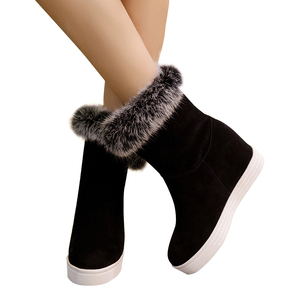 Image 4 - Gdgydhคุณภาพดีฤดูหนาวรองเท้าผู้หญิงรองเท้ารองเท้าส้นสูง 2019 สีดำสีเทาขนสัตว์สุภาพสตรีรองเท้าบู๊ทหิมะPlusขนาด 43