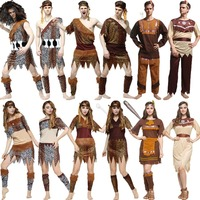 Umorden Halloween Native American Indian Cosplay Primitive Macho Caveman Costume for Men Women Adult Carnival Party Fancy Dress