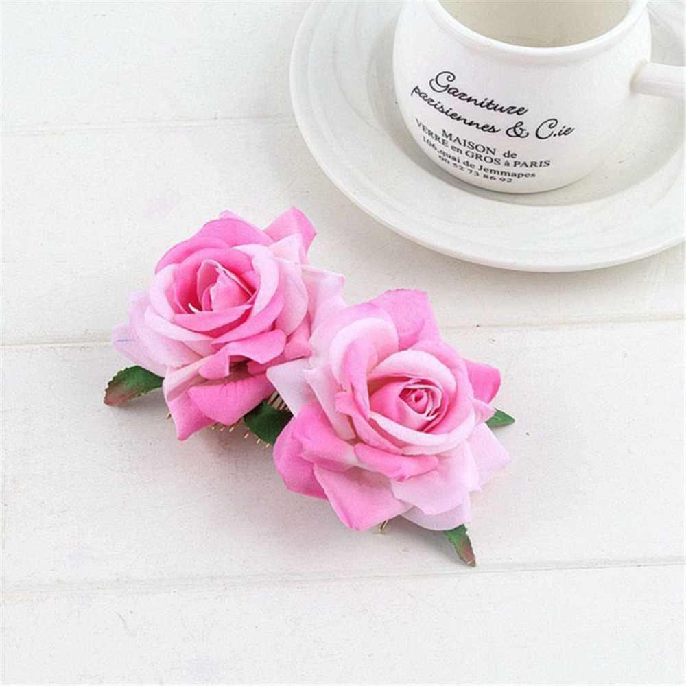 1 шт. Свадебная Подружка невесты Девушка двойная ткань розовые цветы украшения для волос Расческа Зажим Шпилька Свадебная вечеринка Повседневный подарок, аксессуары для волос Haarband