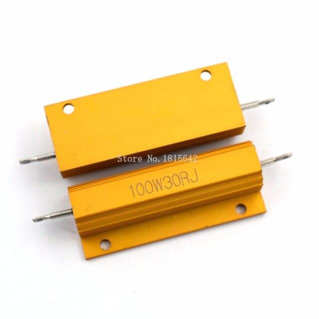 RX24 100 Вт 30r 30rj металла В виде ракушки из алюминия золото резистор высокое Мощность радиатора сопротивление Золотой теплоотвод резистор 100 ватт 30 Ом