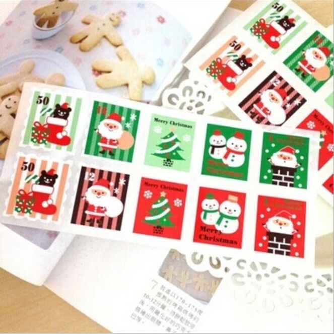 100pcs/lot Colored Christmas Stamp Design Kraft Seal Sticker Kraft Paper Material Stick DIY Multifunction Gift Sticker