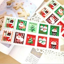100pcs/lot (1000pcs) Colored Christmas Stamp design Kraft Seal Sticker Paper Material stick DIY Multifunction gift sticker