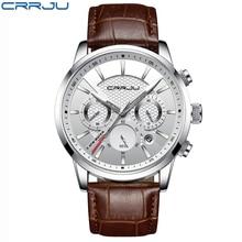 Кварцевые часы для мужчин Crrju 2019 Лидирующий бренд роскошные кожаные s часы модные повседневное Спорт часы мужские наручные Relogio Masculino