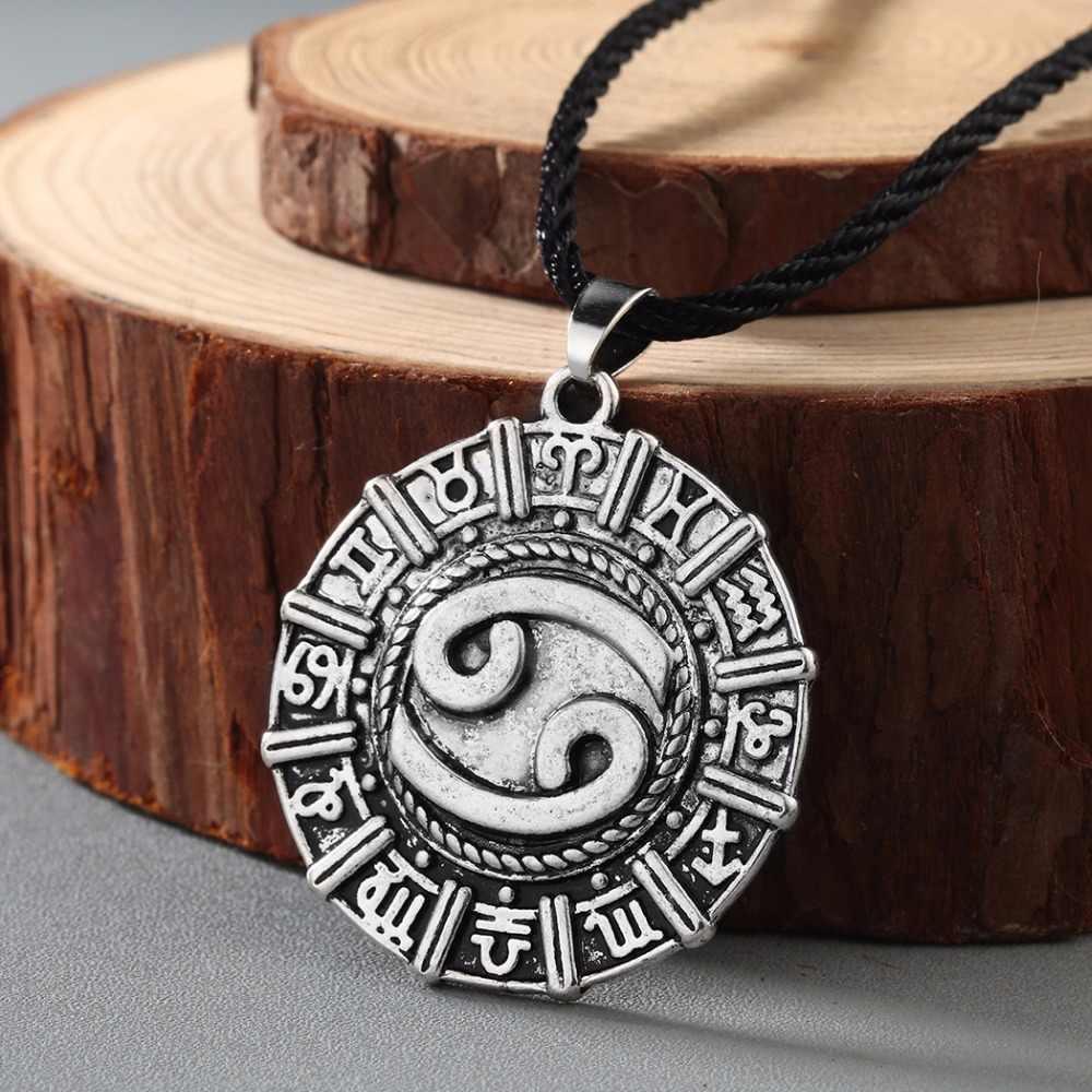 CHENGXUN Antike Männer Halskette Krebs Karkat Sternzeichen Schmuck Konstellation Halskette Nordischen Viking Anhänger Astrologie Slawischen Halskette