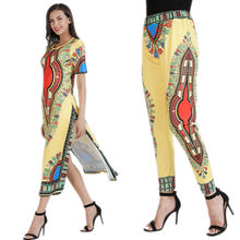 4c76a0f5cf3 Ladies Summer Africa Indie Folk Printing 2pcs Long Pants Suitsets Sexy Club  Women Clothing Sets Side
