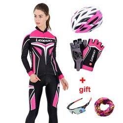 Autunno A Manica Lunga Donna Abbigliamento Ciclismo MTB Pro Team Maglia Bici Vestito di Equitazione Bicicletta Traspirante Vestiti Delle Signore Set abbigliamento ciclismo
