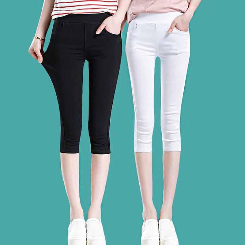 Plus Size Breeches Women Summer Black White Leggings Cotton Skinny Stretch Trousers Casual Knee Length Capris Pants 5XL 6XL