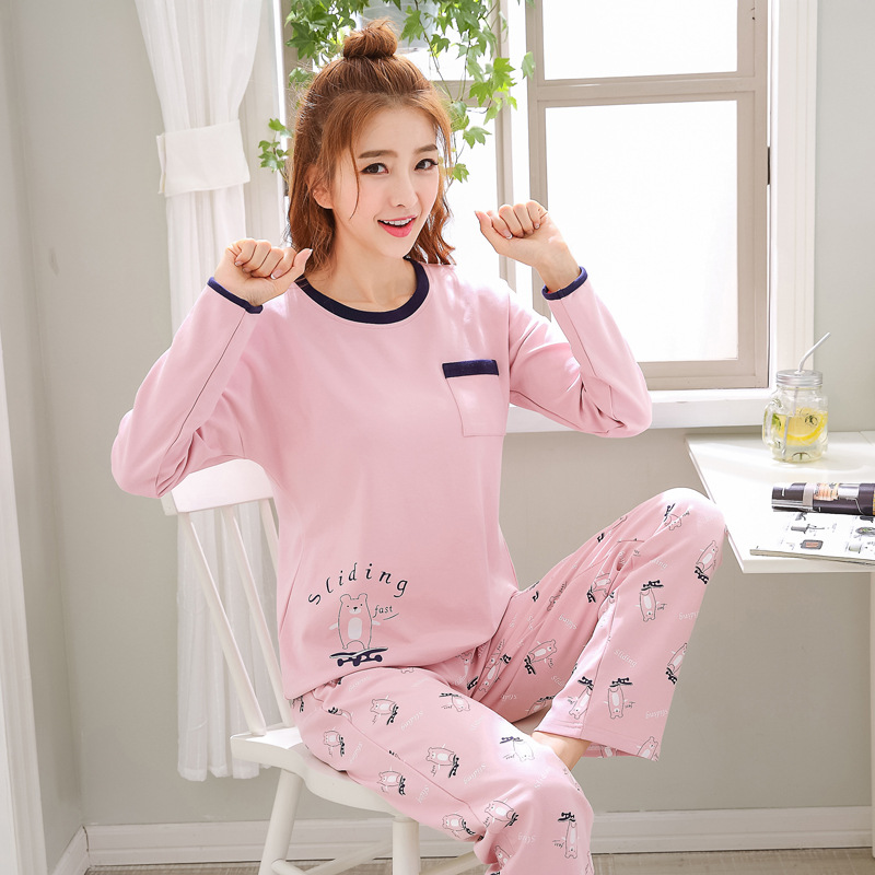 2019 Women Pajamas Sets Autumn Winter New Women Pyjamas Cotton Clothing Long Tops Set Female Pyjamas Sets NightSuit Mother Sleep 106