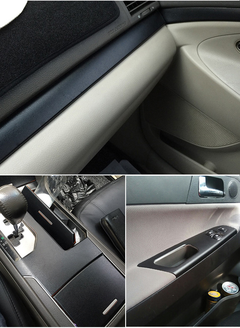 Image 5 - 3D PVC DIY Car Styling Interior Dashboard Sticker Black Leather Texture Trim Vinyl Wrap Sheet Film Sticker 10/20/30/40/50X152CM-in Car Stickers from Automobiles & Motorcycles