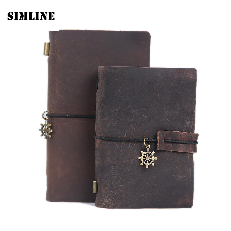 High Quality Vintage Genuine Crazy Horse Leather Cowhide Cover Loose Leaf Traveler's Notebook Diary Diaries Journal Gift Notepad free shipping leather car floor mat carpet rug for hyundai sonata hyundai i45 sixth generation 2009 2010 2011 2012 2013 2014