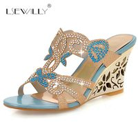 Lsewilly New 2018 Fashion Summer Party Shoes Woman Rhinestone Cut Outs Wedges Sandals Lady Sexy Open