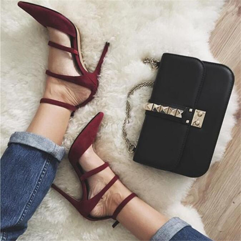 2017 Sapato Hot Sexy Women Ladies High Heels Evening Party Shoes Women Pumps Pointed Toe Party Sweet Narrow Band Zapatos Mujer mavirs high heels hot sale spring brand women pointed toe shoes flock ladies pumps glitter suqare heels sapato feminino plus 653