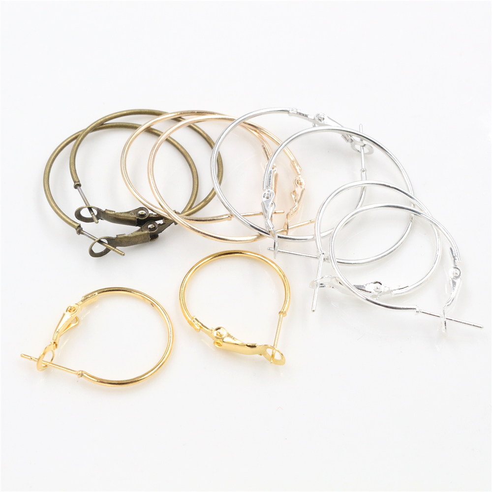 20pcs/Lot 20mm 25mm 30mm 5colors Plated Circle Round Hoop Round Big Circle Hoop Earrings DIY Women Jewelry Making