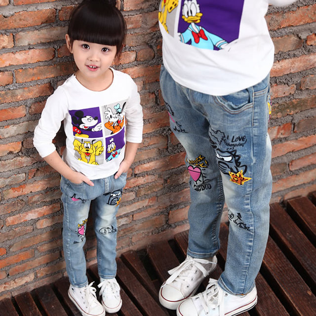 Brand kids boys and girls jeans 2015 cartoon character printed casual denim pants Spring and Autumn new jeans for children