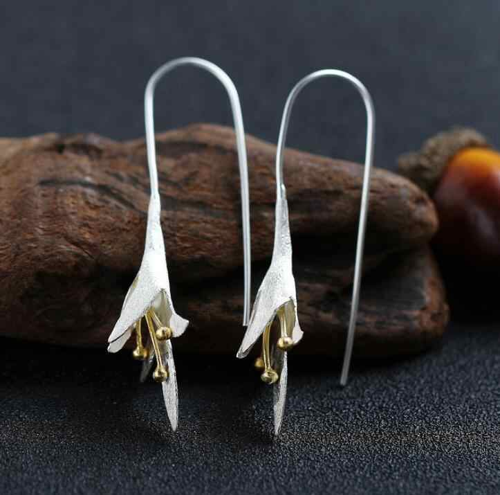 Anenjery 925 Silver Sterling Long Flower Drop Earrings Female Handmade Flower Earrings Thailand Crafts Wholesale S-E121