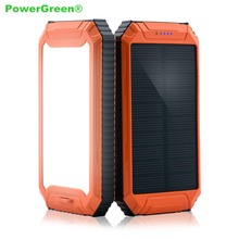 PowerGreen Solar Charger Emergency Battery Backup 10000mah Dual Output Mini Solar Panel with Flashlight for LG