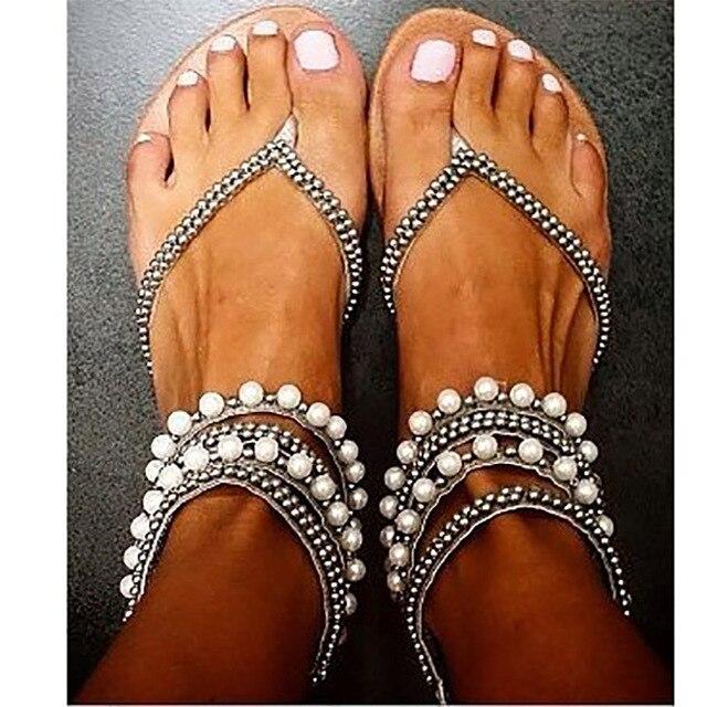 95f7adc5dd1e9a Summer women shoes sandals Beading Rhinestone Thong Flat sandals women  gladiator sandals women sandalia plus size Us4-14