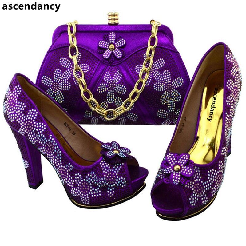 Zapatos Conjunto Appliques Bolsa Llegada Bolsos púrpura Y A naranja Con Decorado Púrpura Nueva Italiano Oro plata Italianos Juego qEzwnvz7