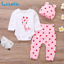 Baby Girl Clothes Set Long Sleeve Newborn Bodysuit Deer +Pant+Hat Cute Toddler Girl Clothing Cotton Outfit Polka dot Set P35