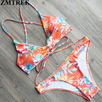ZMTREE 2017 New Design Swimsuit Bandage Bikinis Women Swimwear Beach Bathing Suit Floral Printed Bikini Set