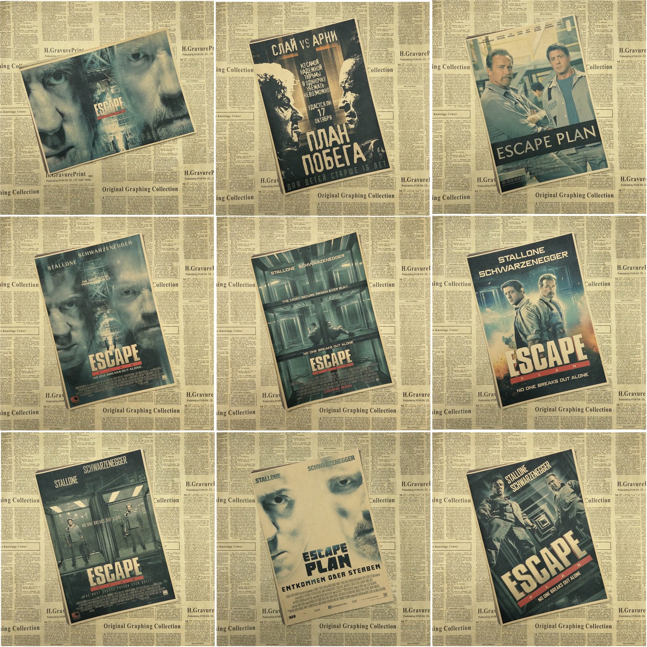 Escape Plan core Movie Kraft Paper Poster Vintage Bar Cafe Living Room Dining room