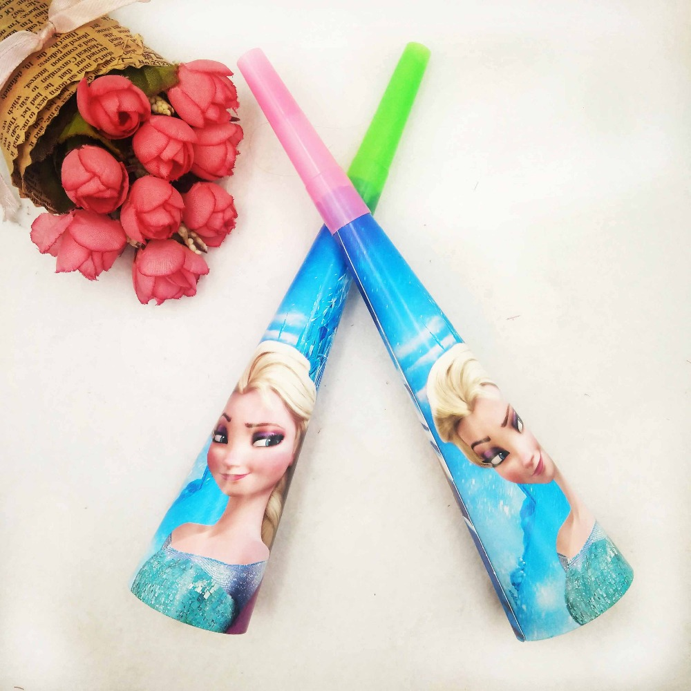 6pc set Kids Anna And Elsa Princess Party Noise Horn Trumpet Birthday Party Decoration Supplie Blowouts Whistles in Noise Makers from Home Garden