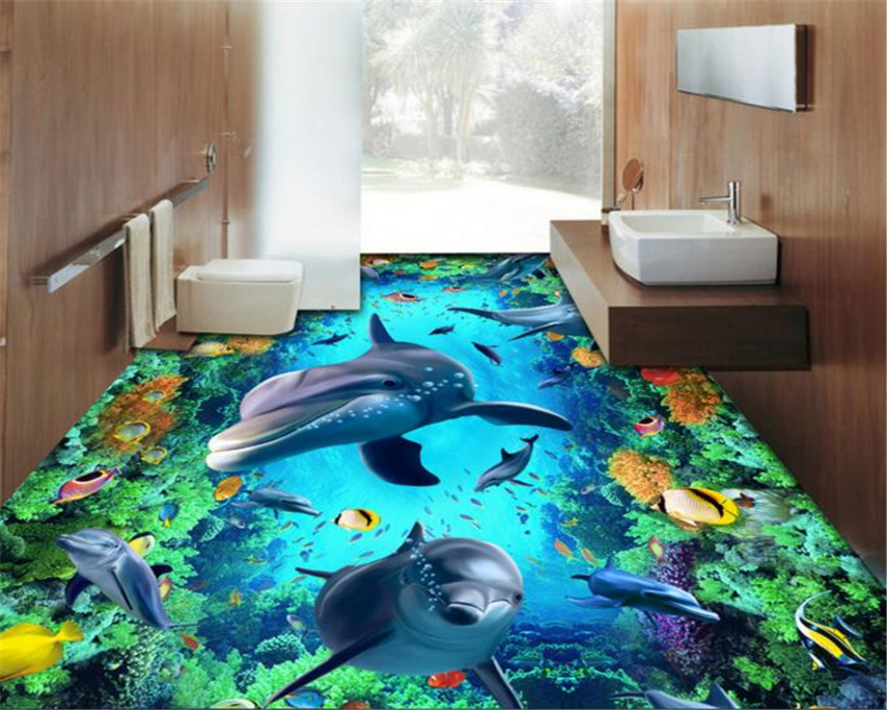 beibehang Classic decorative painting papel de parede wallpaper 3D porpoise floor tile ground Street Park stereoscopic painting ...