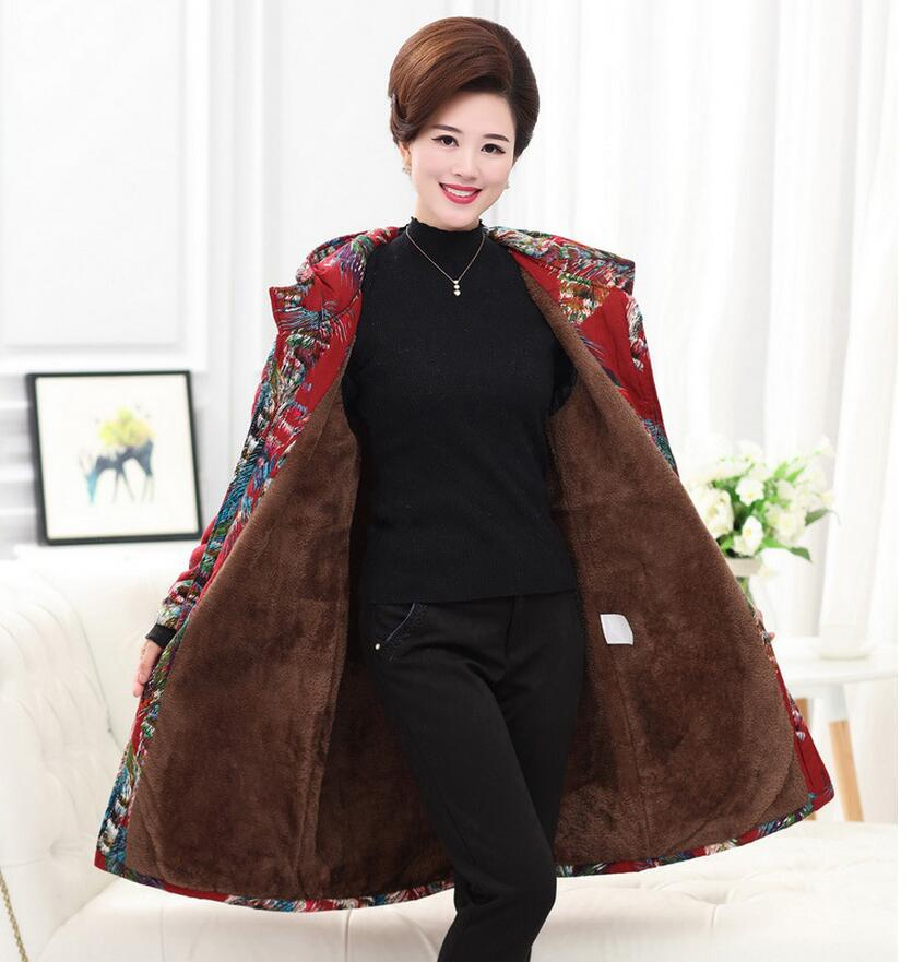 Plus Size 5XL 2017 Fashion Winter Warm Hooded Thicken Parkas Jacket Middle Age Women's Print Hooded Plus Velvet Coat  s1072 plus size letter print hooded sweatshirt dress