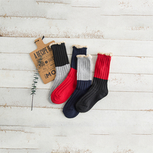 Solid Color Stitching Ladies Tube Cotton Socks Comfortable Warm Women New Trend Casual