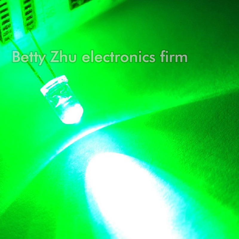 5000PCS LOT LED light emitting diode 5MM Round transparent shell hair emerald green light
