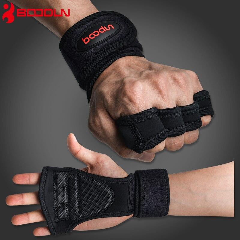 Boodun guanti Sollevamento Pesi Training Guanti Donne Uomini Sport Fitness Body Building Ginnastica Grips Palestra Mano Palm Protector Guanti