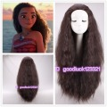 Free Shipping  2016 New Movie Moana Wig long curly brown cosplay costume wig +a wig cap