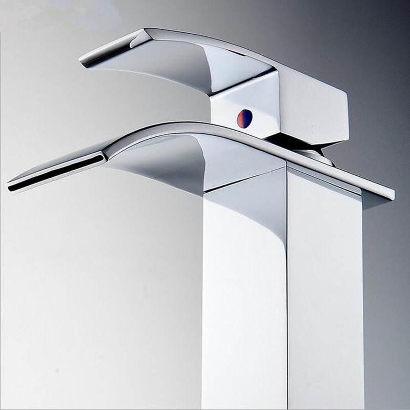High Quality Brass Waterfall Sink Faucet Chrome Single Handle Single ...