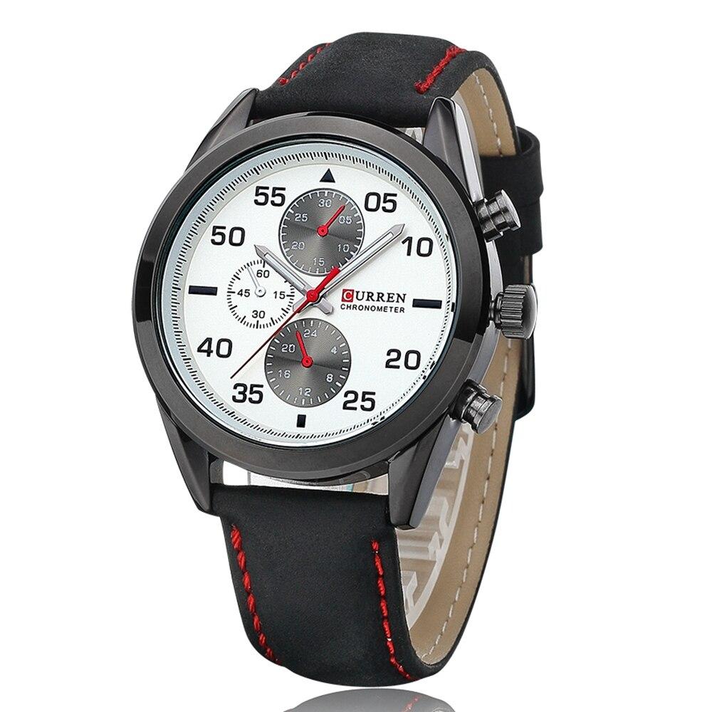 15994b411d7 CURREN 8156 Homens de Negócios de Quartzo Relógios Top Marca de Luxo  Militar Relógios De Pulso De Couro Sports Relogio masculino KREa60 em  Relógios de ...