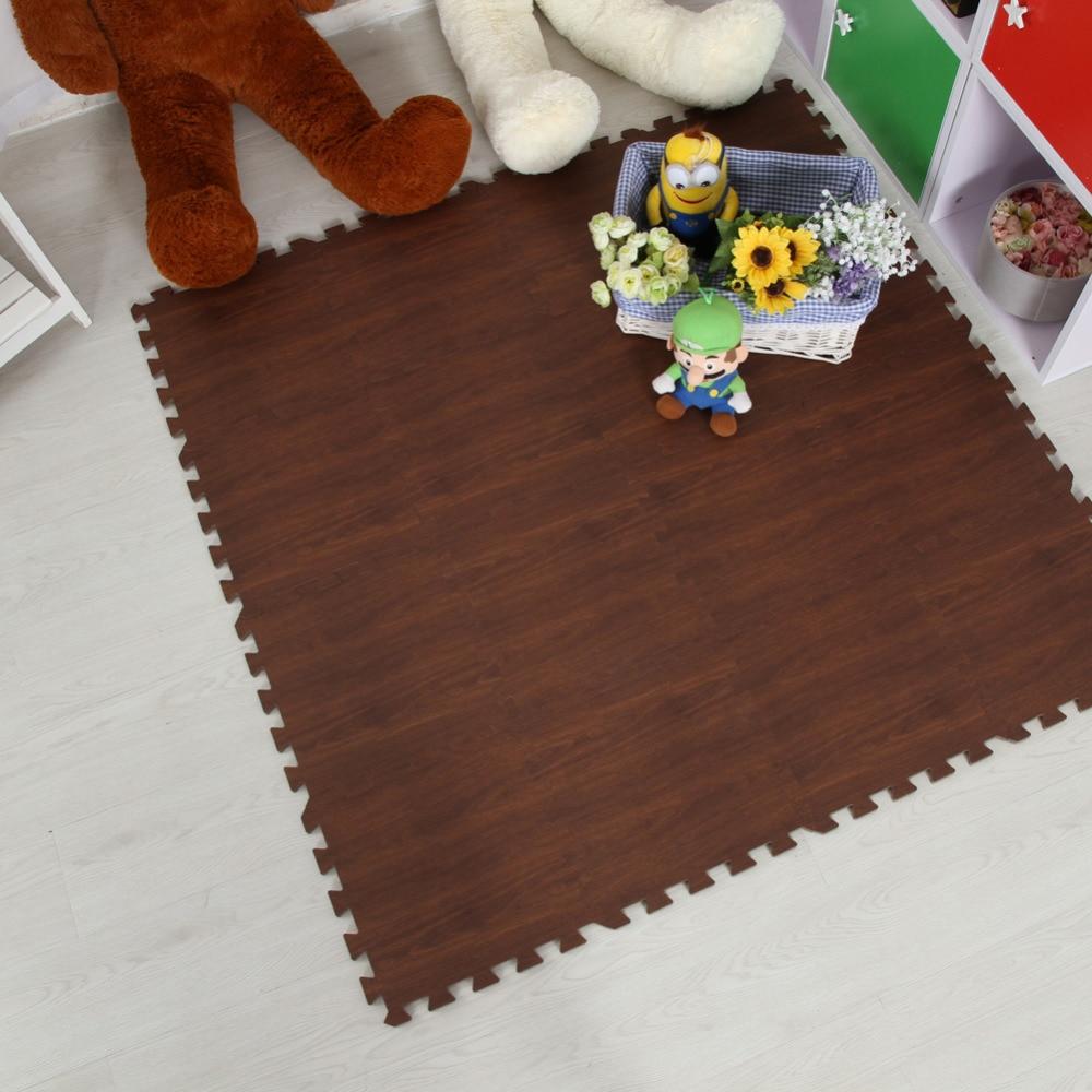 Meitoku Zachte EVA Foam puzzel kruipen mat; 10 stks hout interlock - Speelgoed voor kinderen - Foto 4