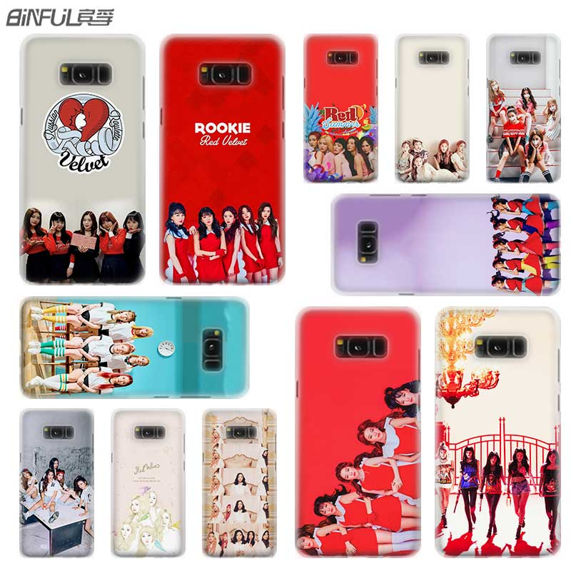 BINFUL <font><b>case</b></font> cover hard Transparent for <font><b>Samsung</b></font> S9 S8 S7 S6 S5 S4 S10 Edge Plus for Galaxy Note 10 Pro 9 8 Red Velvet <font><b>Kpop</b></font> image