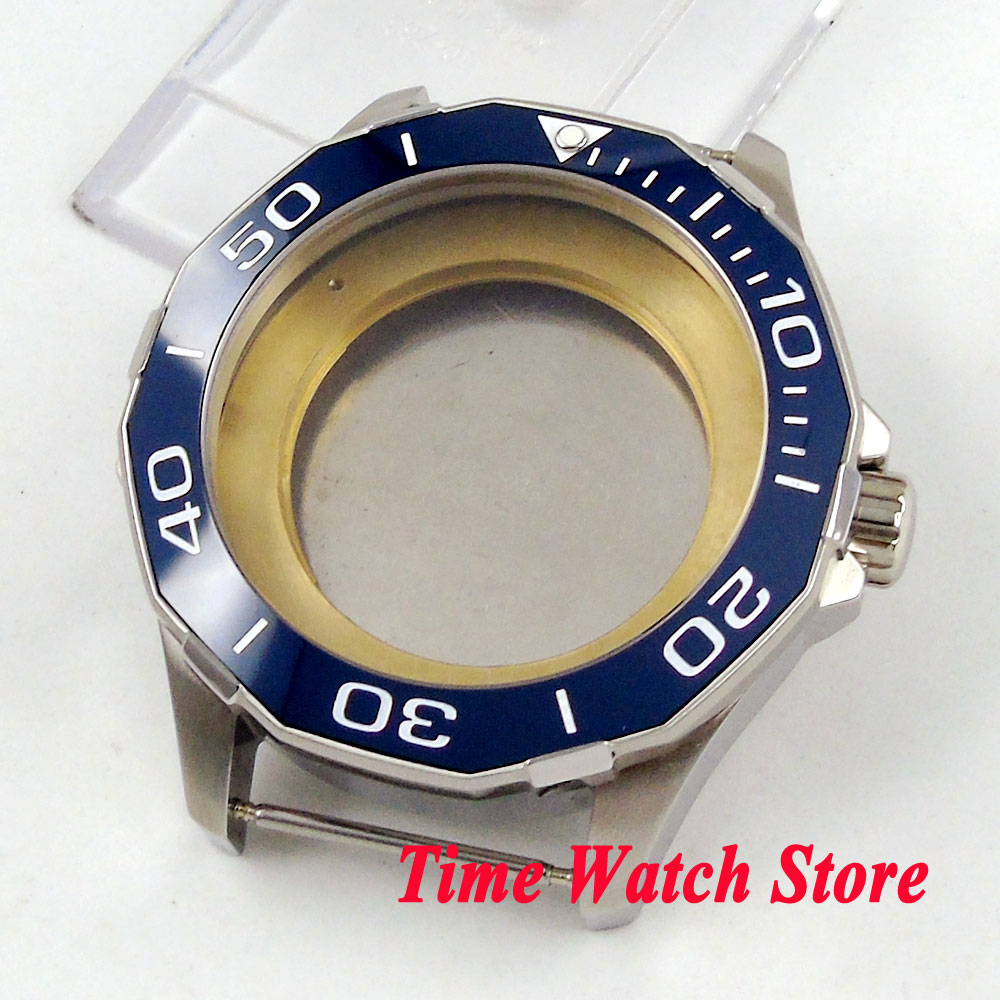 Polygonal 45mm 316L stianless steel watch case sapphire glass blue ceramic bezel fit ETA 2836 MIYOTA 8215 821A movement C8 цена и фото